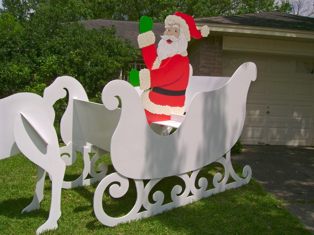 Wood yard decorations - Gigantic Santa Sleigh This Christmas Yard Art Decoration Was Made To Order