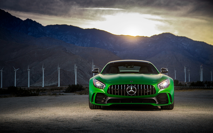 Download Wallpapers Mercedes Amg Gt R 4k Headlights 2018 Cars