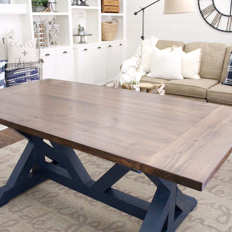 Navy Blue Anyone This Farmhouse Table Is Going To Be Used As A Desk We Made It A Little Narr Blue Dining Tables Dining Room Blue Farmhouse Dining Room Table