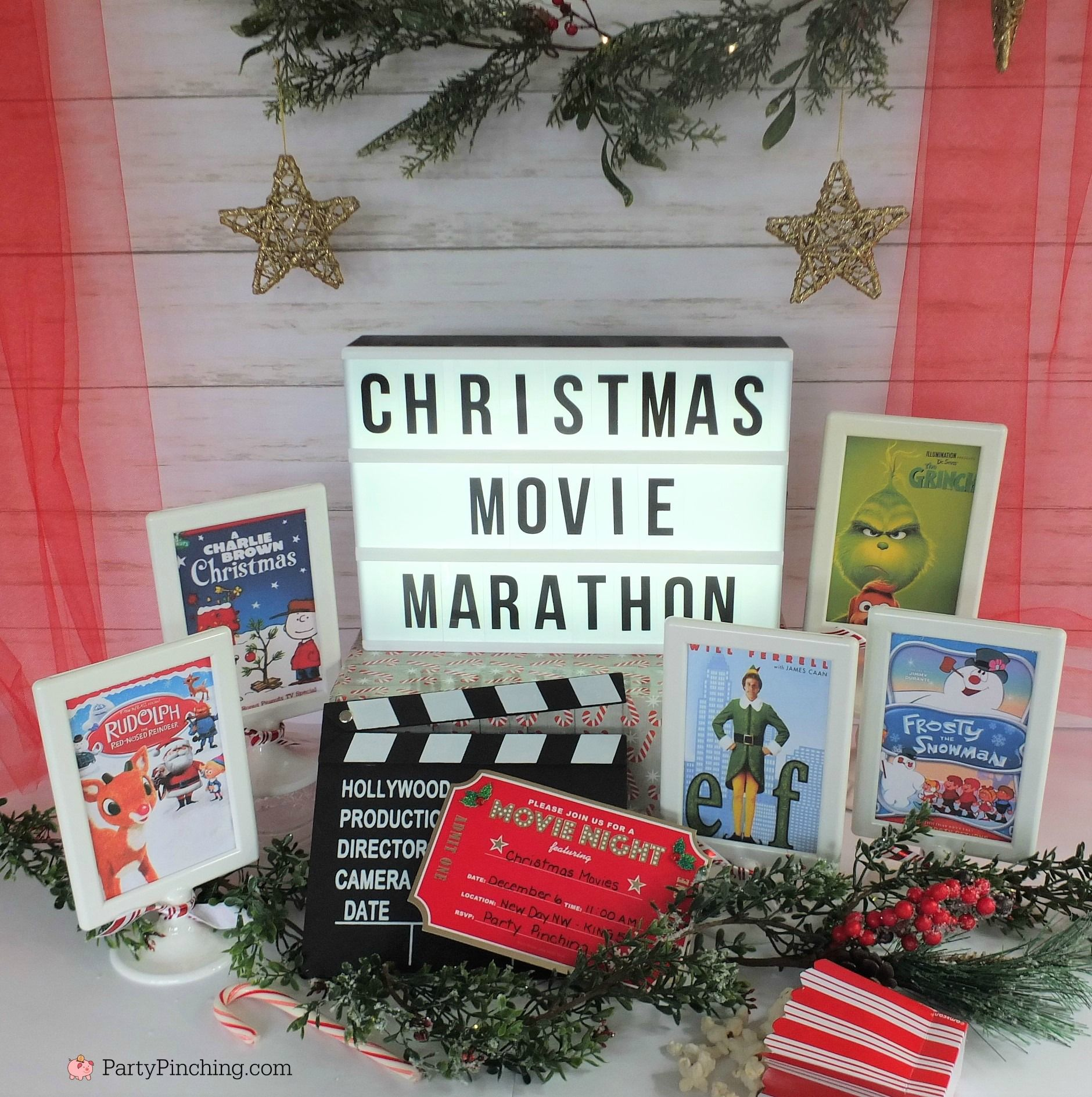 Christmas Movie Marathon Christmas Movie Night Party Ideas Rudolph Treats Bumble Abomin Charlie Brown Christmas Movie Christmas Movies Christmas Movie Night