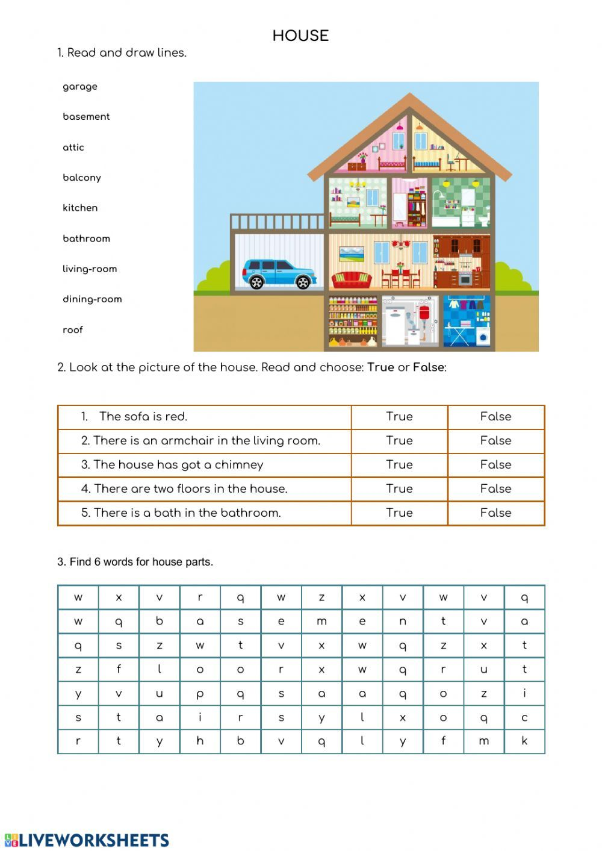 House Parts - Interactive worksheet   Worksheets [ 1413 x 1000 Pixel ]