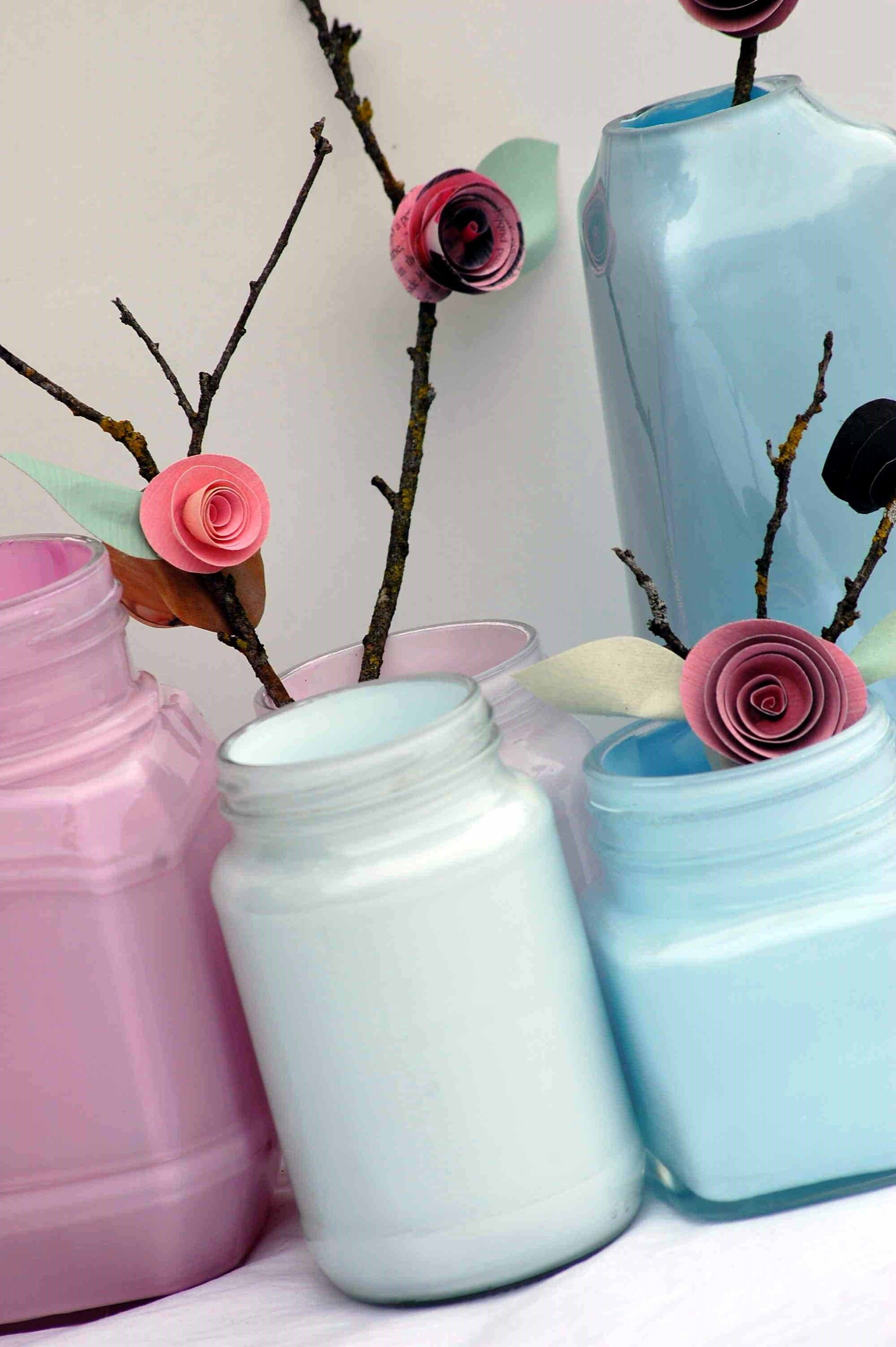 Painted bottles paper flowers creative revamps pinterest for Painted paper flowers