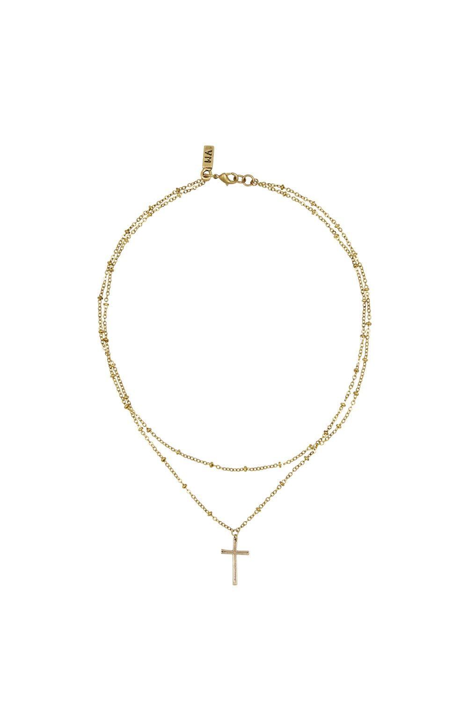Vanessa Mooney Chain & Cross Choker in Metallic Gold 1zrieo2a2