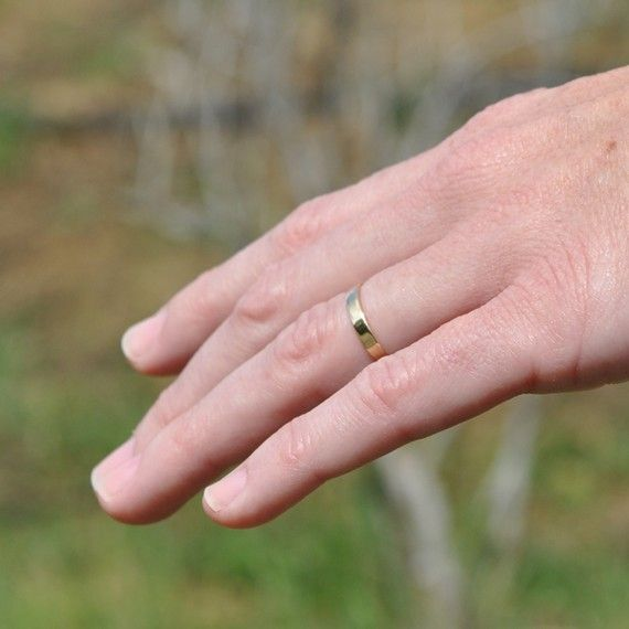 18k Yellow Gold Hand Forged 3mm Smooth Wedding By Seababejewelry 368 00