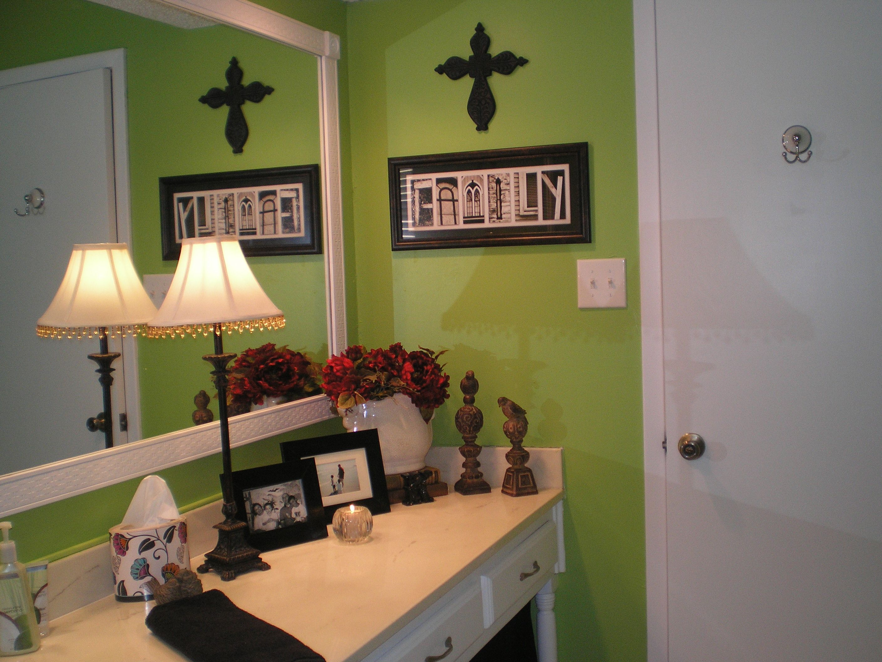 My lime green bathroom with black white and red accents for Red accent bathroom