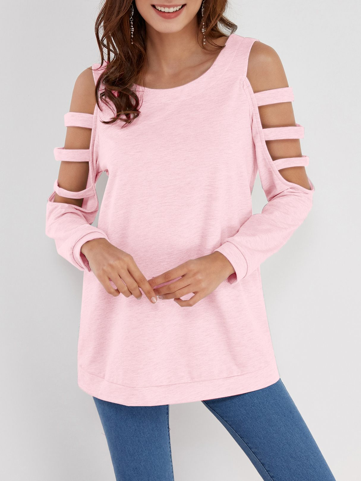 4a02dd51aa806d Pink Solid Color Cold Shoulder Long Sleeves T-shirt - US$13.95 in ...
