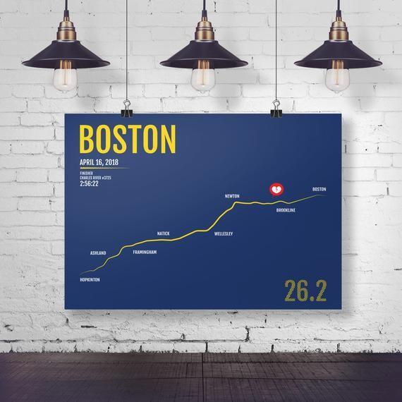Boston Marathon Print - Personalized and Customized for 2018 or 2017, Marathon Print, Runner Gift, R