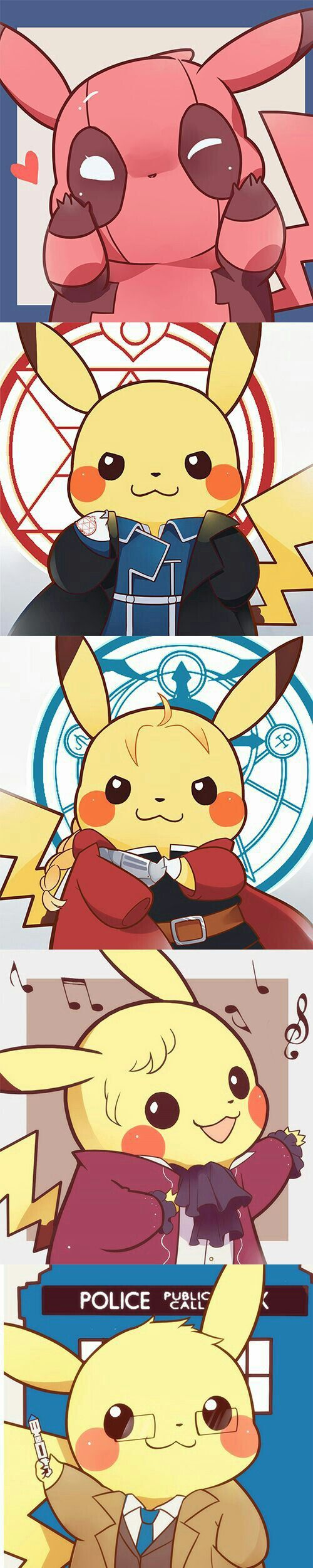 deadpool pikachu roy mustang pikachu edward elric