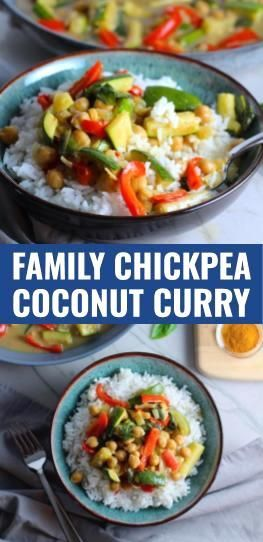 Family Chickpea Coconut Curry with Veggies Family Chickpea Coconut Curry with Vegetables is a creamy, crunchy, and filled with warm, soothing, yummy flavors.  Flavors are more subtle so that everyone, including kids will love this recipe.  You get roasted chickpeas with sweet and creamy coconut milk.  Then lots of crunch and texture from the sweet red bell pepper, zucchini, and onion.  It's all served on top of fluffy rice that soaks up the delicious sauce.