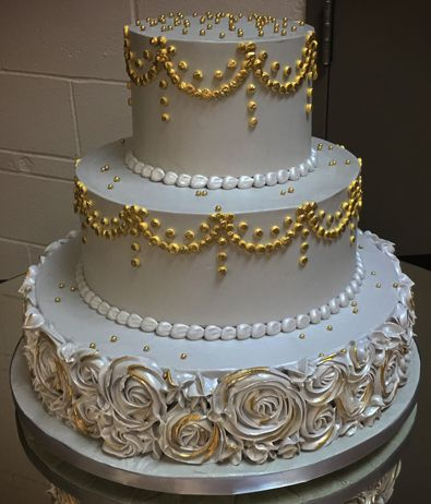 3 Silver And Gold Buttercream Wedding Anniversary Cake, Decorated With Goldu2026