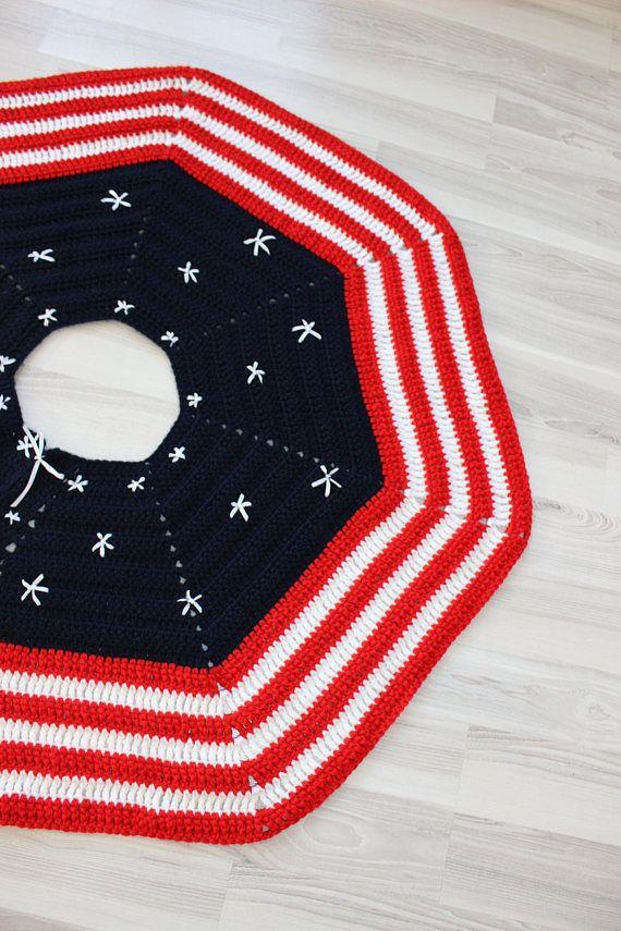 Crochet Tree Skirt Patriotic Tree Skirt Usa Flag Decor | crochet ...