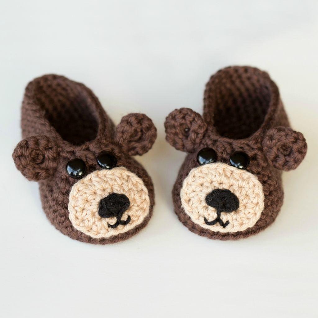 Teddy bear baby booties crochet pattern hopeful honey honey and teddy bear baby booties crochet pattern bankloansurffo Choice Image
