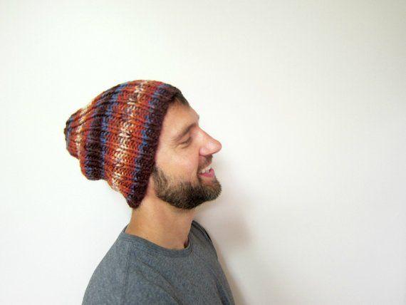 Warm Mens Hat Autumn Guys Hats Slouchy Beanie Men Knit Beanies Winter  Accessories Orange Knitted Ets 27b821ee3c5b