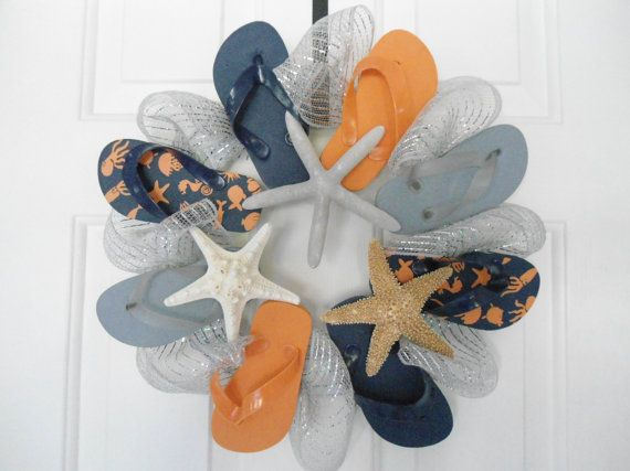 Flip Flop Starfish Wreath Sale Beach House Nautical Sharks