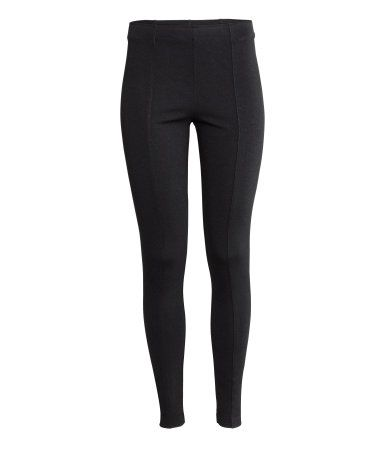805e54e4adefdc High-waisted leggings in sturdy jersey with decorative seams on the legs  and concealed elastication at the waist. - Visit hm.com to see more.