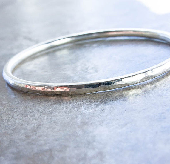 Weighty 8 Gauge Hammered Silver Bangle Choice Of By Katandmuse 58 00