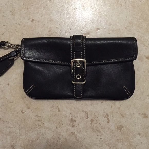 Coach black leather wristlet Coach black leather wristlet Coach Bags Clutches & Wristlets