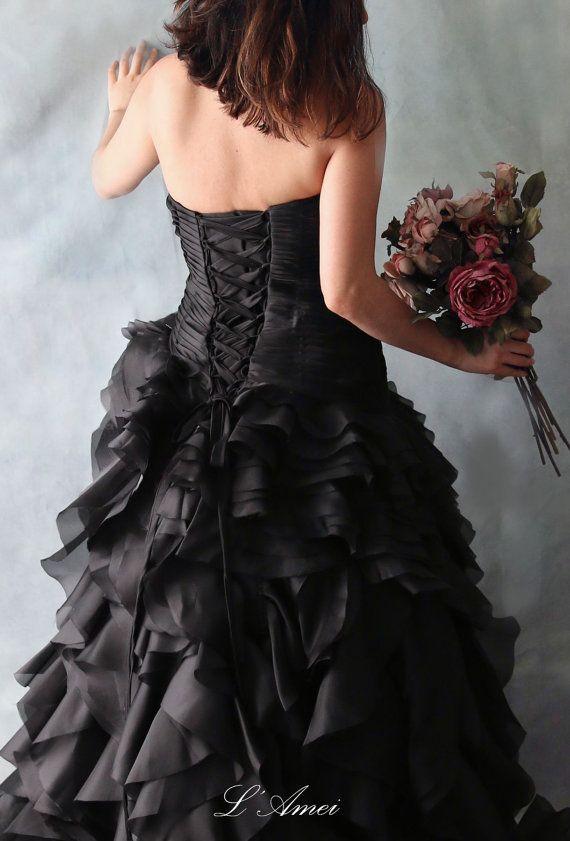 Black Gothic Style black Wedding Bridal Dress Ball Gown , organza ...