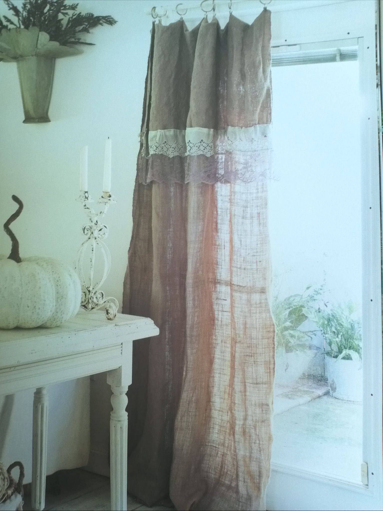Similar linen kitchen curtains in rust orange and purple instead ...