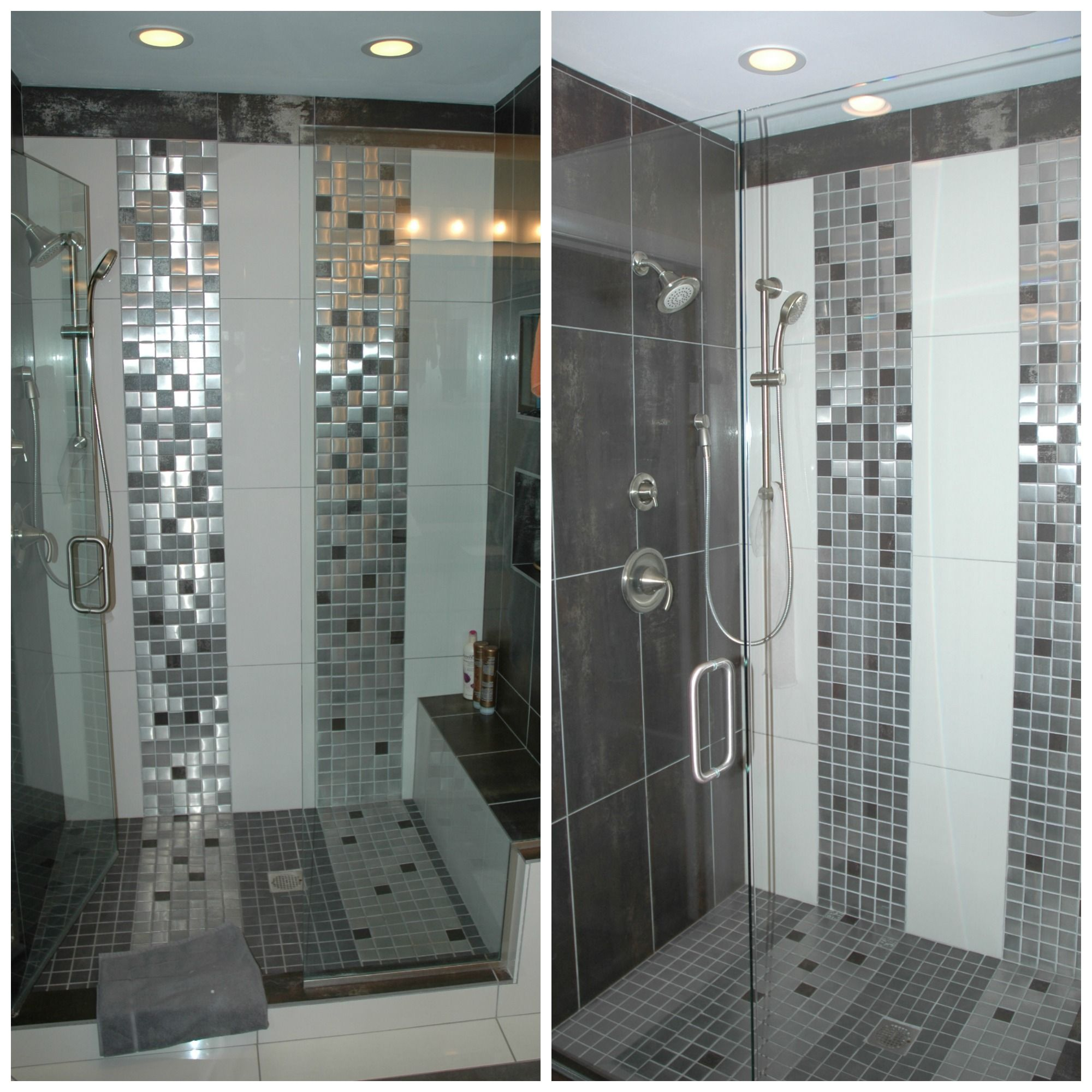 What Makes This Space Special The Vertical Mosaic Accent Tile And Built In Ledge Bench For