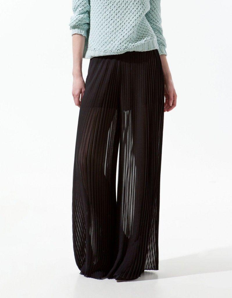 pantalon falda zara plisado negro plizadas pleated. Black Bedroom Furniture Sets. Home Design Ideas