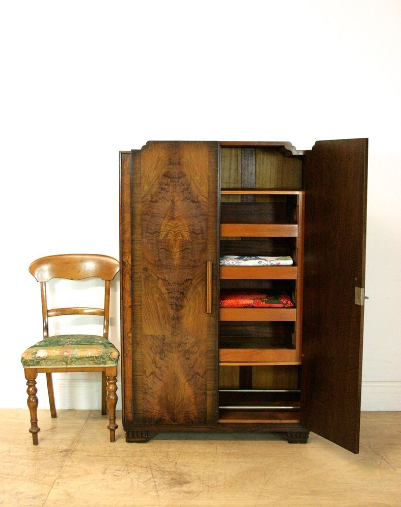 Art Deco Tallboy | Linen Press | Walnut Wardrobe With Drawers