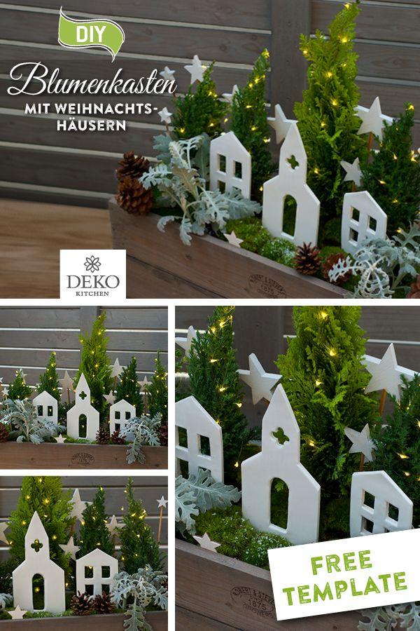 DIY: weihnachtlicher Blumenkasten mit Winterhäusern