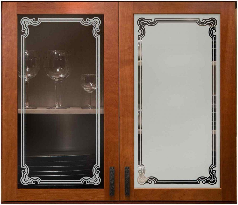 Florence Border Cabinet Glass Sans Soucie Art Glass Glass Kitchen Cabinet Doors Glass Kitchen Cabinets Etched Glass Door