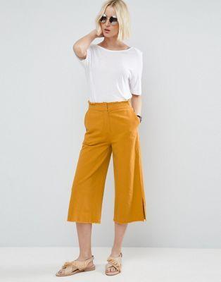 Pantalones de lino de pernera ancha con bajo y cinturilla sin rematar de ASOS