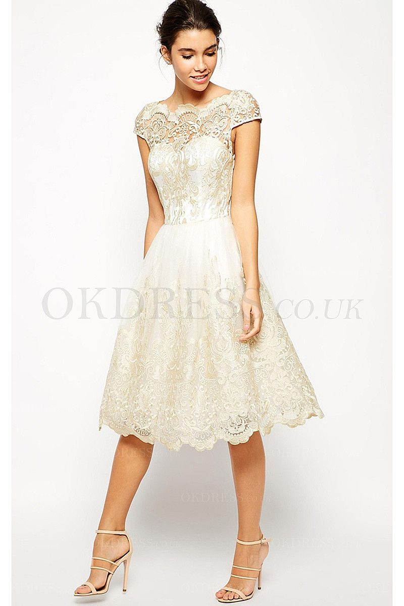 Exquisite ivory cap sleeves natural kneelength prom dresses by