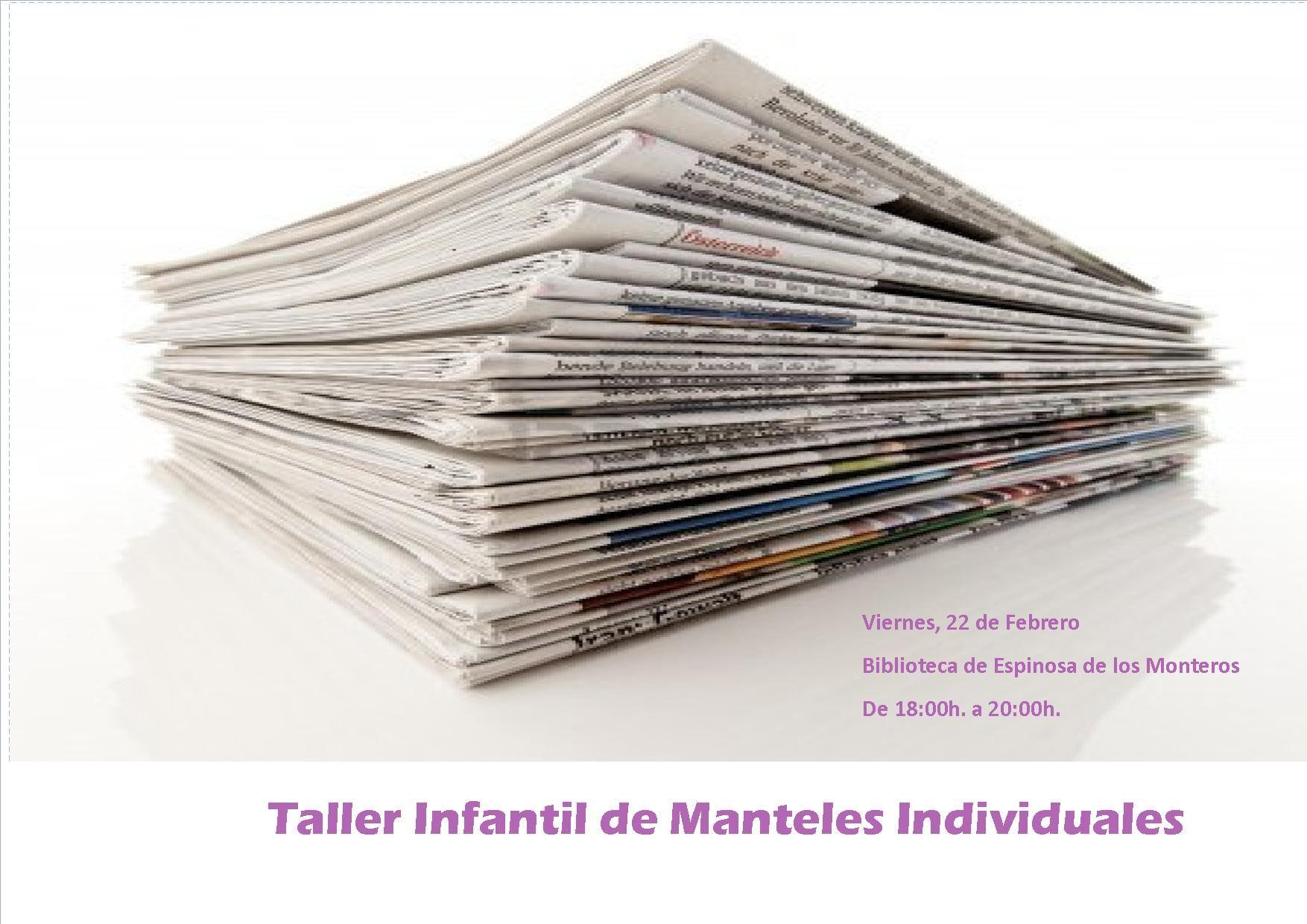 22/02 Espinosa de los Monteros. Taller infantil de Manteles individuales  18:00h- 20:00h Biblioteca Municipal  #Merindades