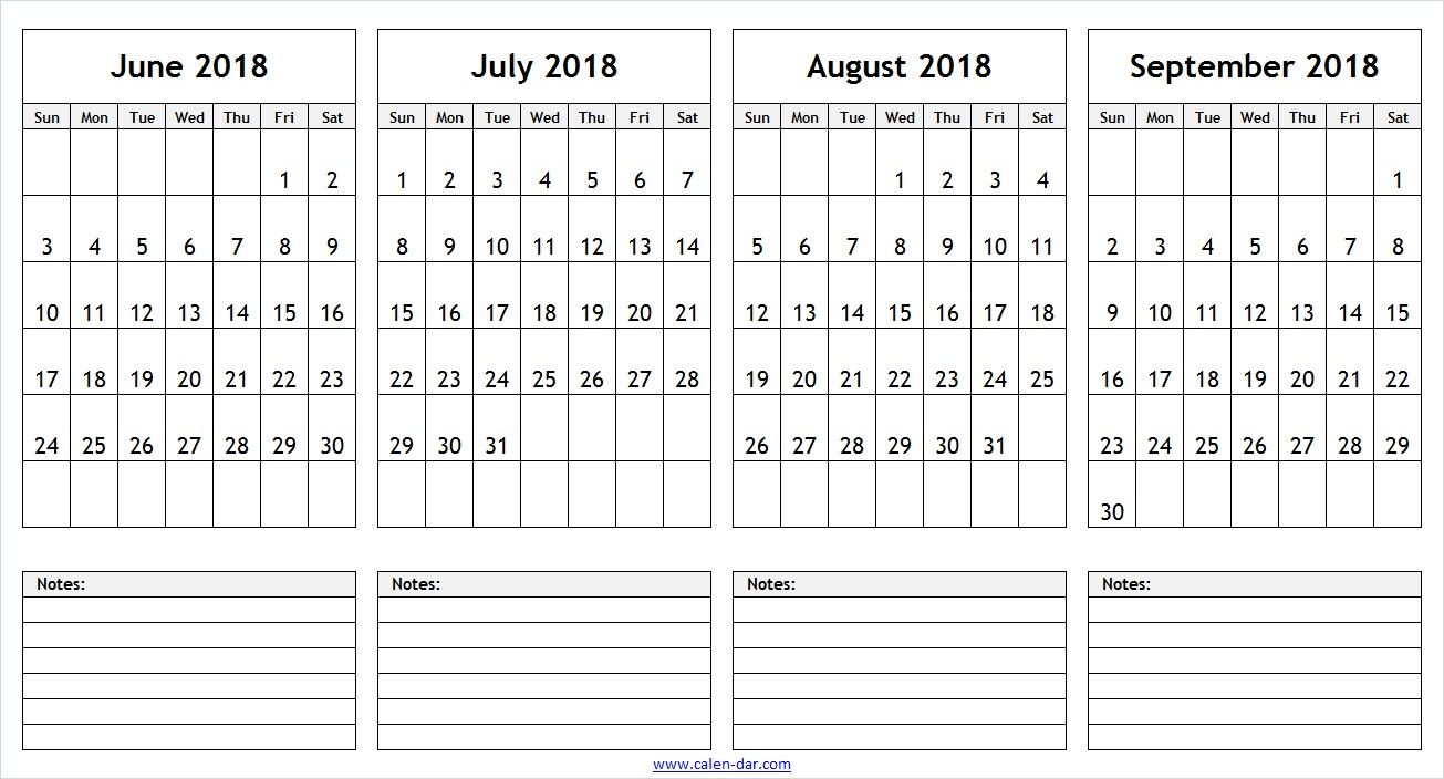 june july august september 2018 calendar with notes