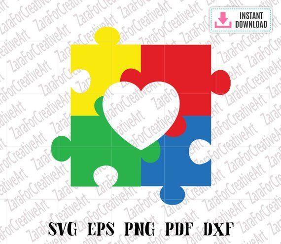 Autism Awareness Heart Puzzle Piece