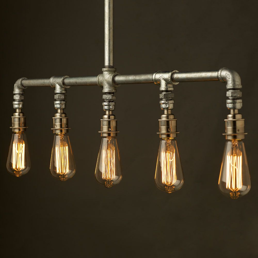 Vintage Galvanised Plumbing Pipe Chandelier | Light | Pinterest ...