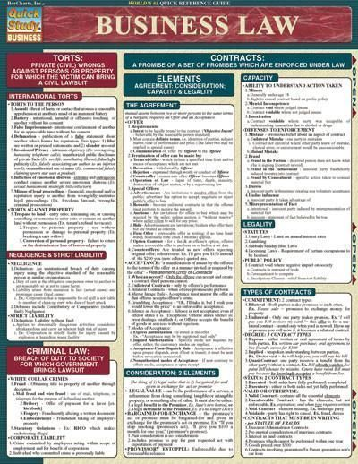 Business Law Laminated Reference Guide Full array of business law