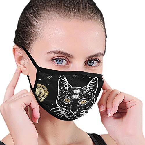 Dust Mask Cat and Roses in Tattoo Fashion Antidust