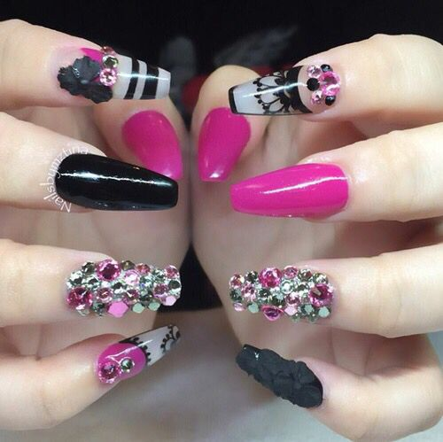 Pink black clear stripe flower diamond coffin nails