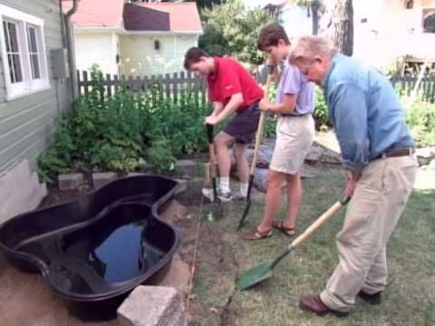 How to make a pond with a preformed pond liner youtube for Building a pond with liner
