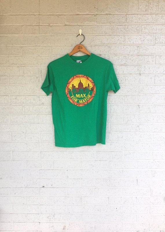 f64eba3e8c2da Vintage 80s MAX For MAYOR Austin TX T-Shirt / 1980s Green Texas ...