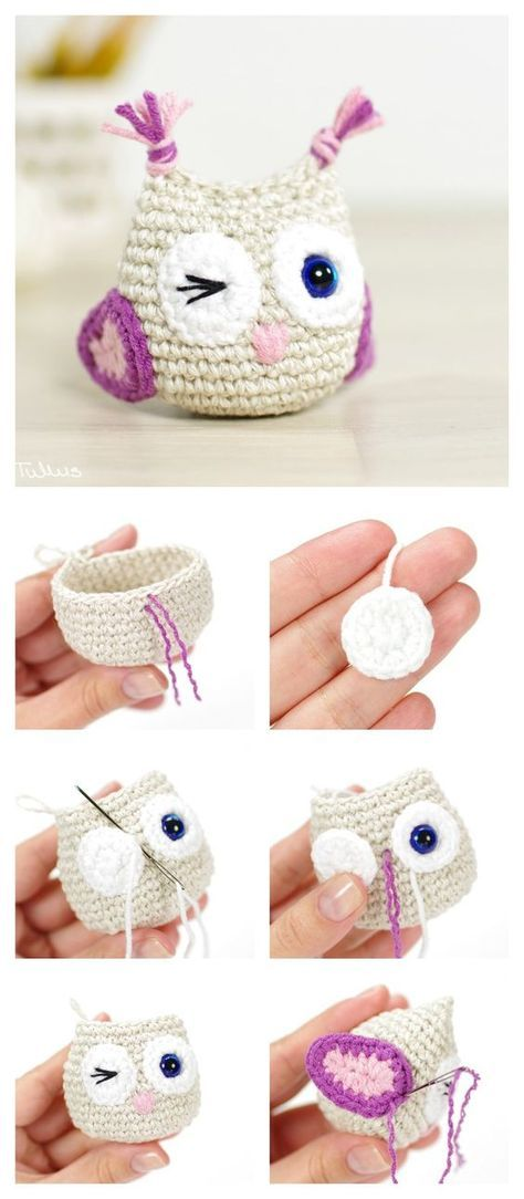 DIY Crocheted Owls with Free Patterns | Abuelas, Llaveros y Tejido