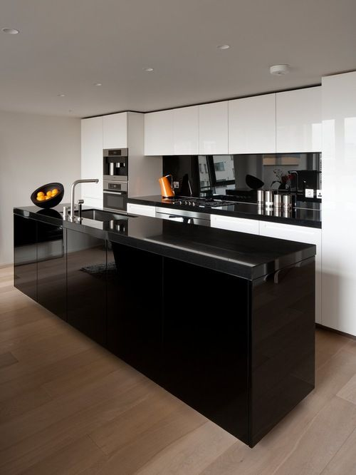 Modern Kitchen Cabinets Black White And Brown Color Schemes Contemporary Black Kitchen Modern Black Kitchen Modern Kitchen Colours