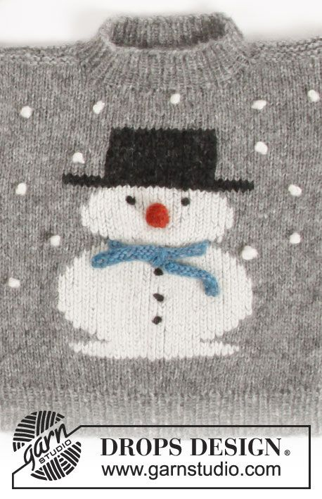 Knitted jumper with snowman. For children sizes 2 – 12 years. The ...