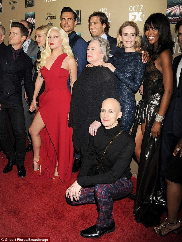 All Together Now The Cast And Crew Got For A Group Shot As Gaga Held Matt Bomer