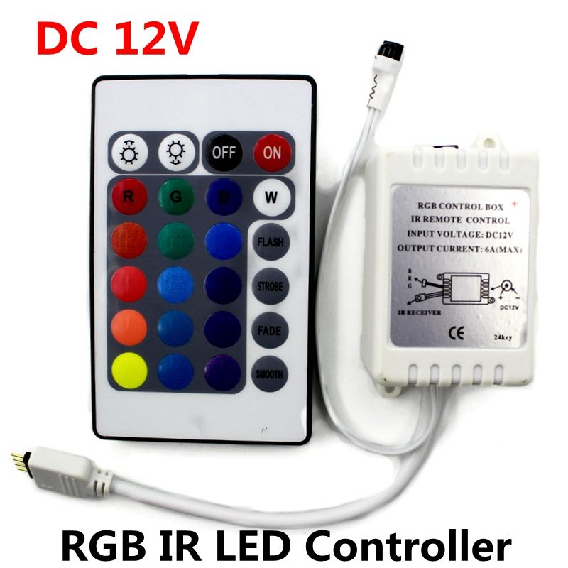 Dc12v Rgb Ir Remote Controller 24 Keys Led Driver Dimmer For Led Strip Light Smd 2835 3528 5050 5730 5630 3014 Led Strip Lighting Strip Lighting Led Strip