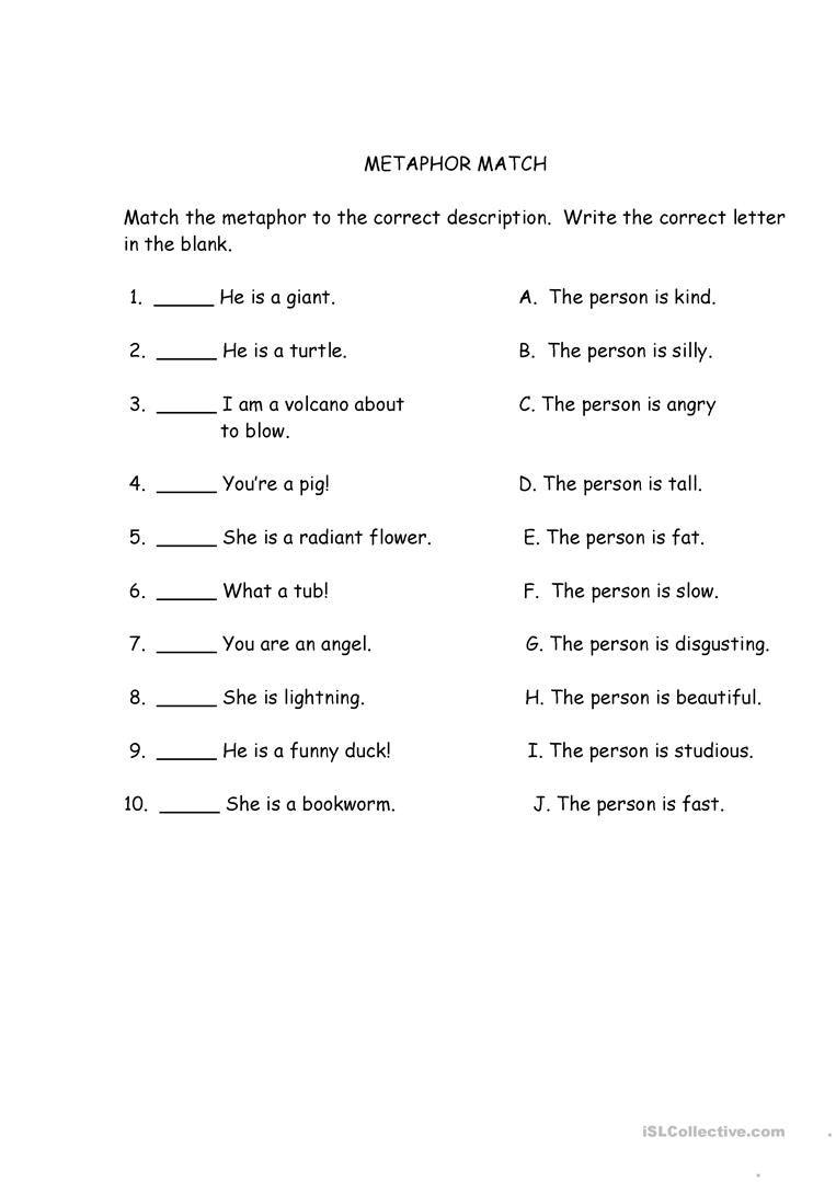 Metaphor Match Similes And Metaphors Simile Worksheet Metaphor Activities