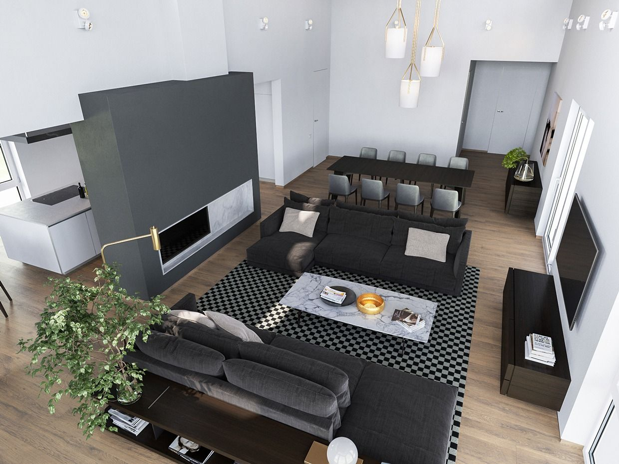 Home interior view an overhead view reveals the layout to be compact and efficient