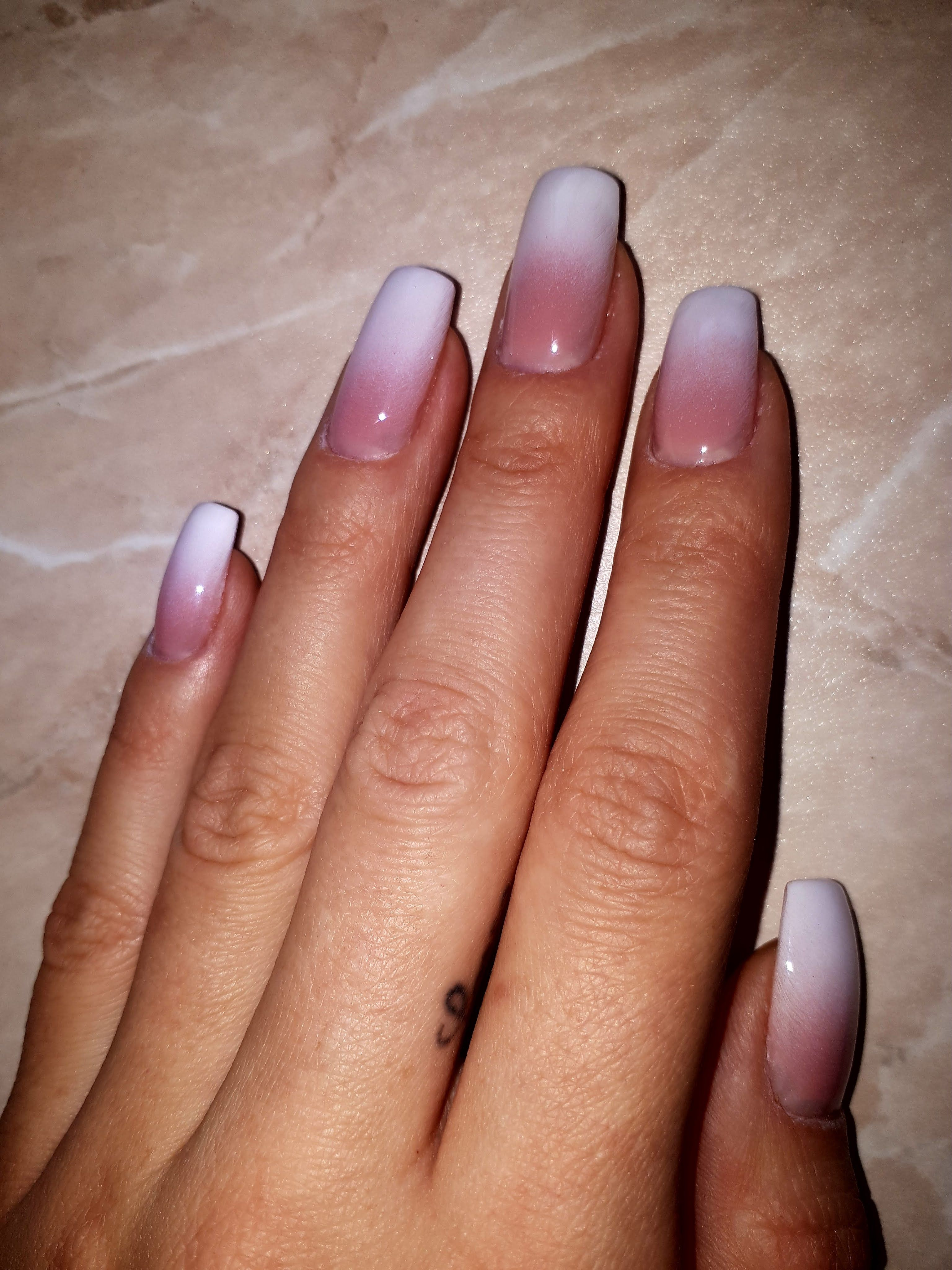 Ombre French white nails | nails | Pinterest | Ombre french, White ...