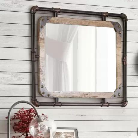 Trent Austin Design Capri Industrial Beveled Distressed Bathroom Vanity Mirror Reviews Wayfair Mirror Wall Furniture Of America Industrial Mirrors