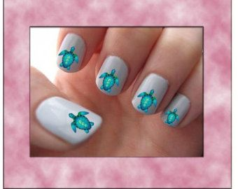 Blue Sea Turtle Nail Art Water Slide Transfers Ocean Nail Stickers Wraps 40 Decals Manicure With Images Turtle Nail Art Beach Nail Art Turtle Nails