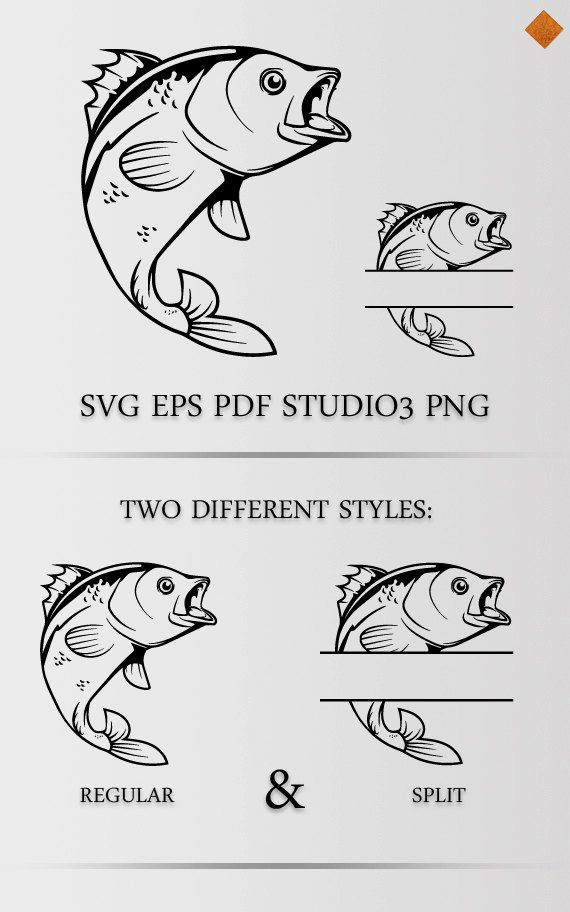 Fishing SVG Bass Cutting File For Silhouette Svg